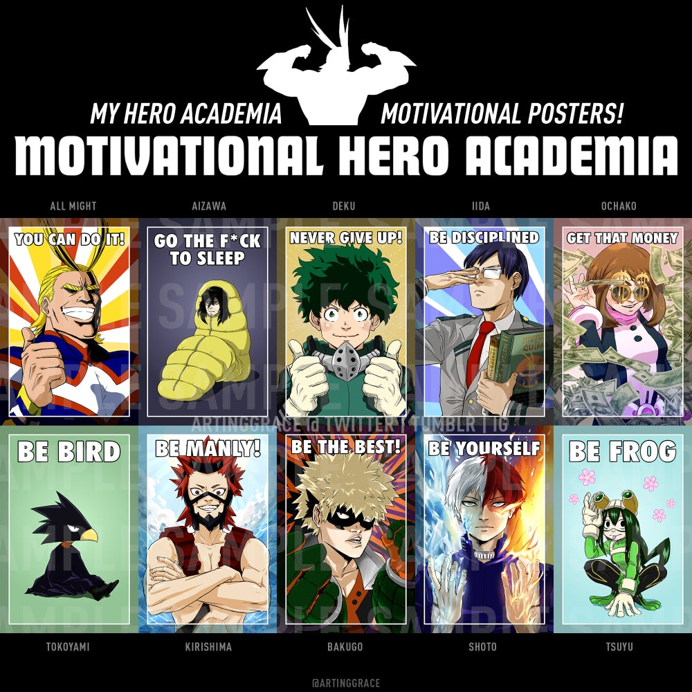 Image of Motivational Hero Academia - MHA Print Set [Convention Sale]
