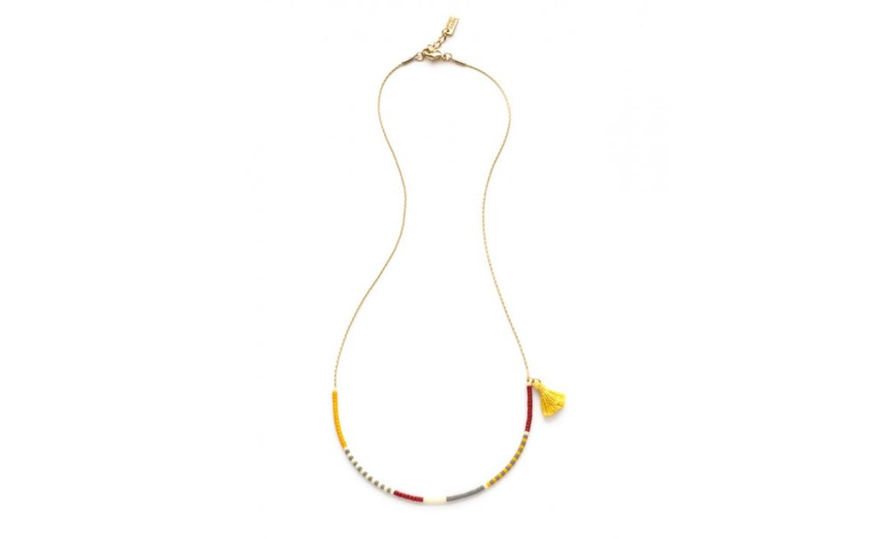Image of Tiny Tassel Japanese Seed Bead Necklace - Saffron mix