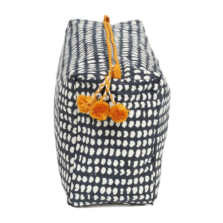 Image of Navy Dot Block Printed Toiletry Bag