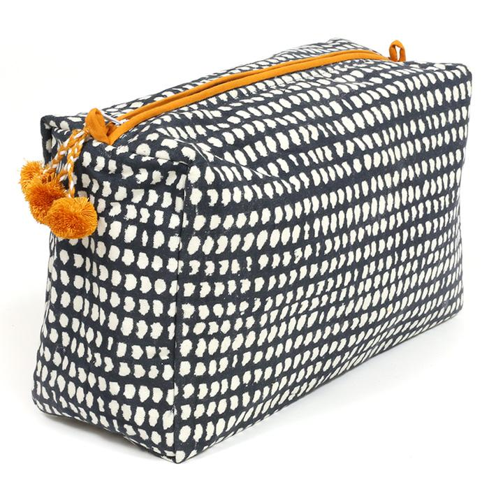 Image of Navy Dot Block Printed Toiletry Bag