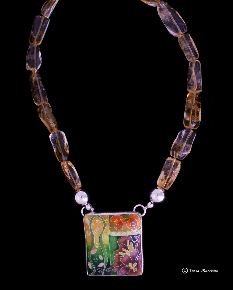 Image of Cloisonné Enamel Necklace with Large Citrine  Beads