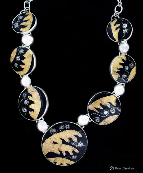 Image of Striking: Cloisonné Enamel, Silver and Gold Necklace