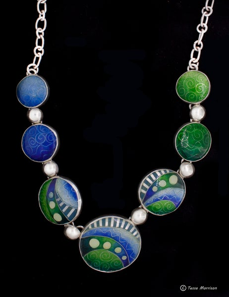 Image of Land and Sea: Cloisonné and Basse Taille Enamel Necklace