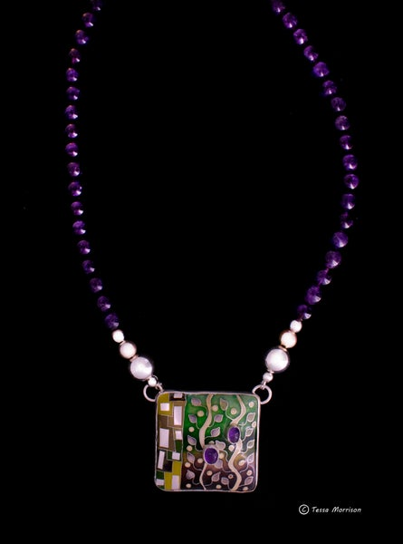 Image of Cloisonné Enamel Necklace with two set Amethyst  and strung with Amethyst Beads