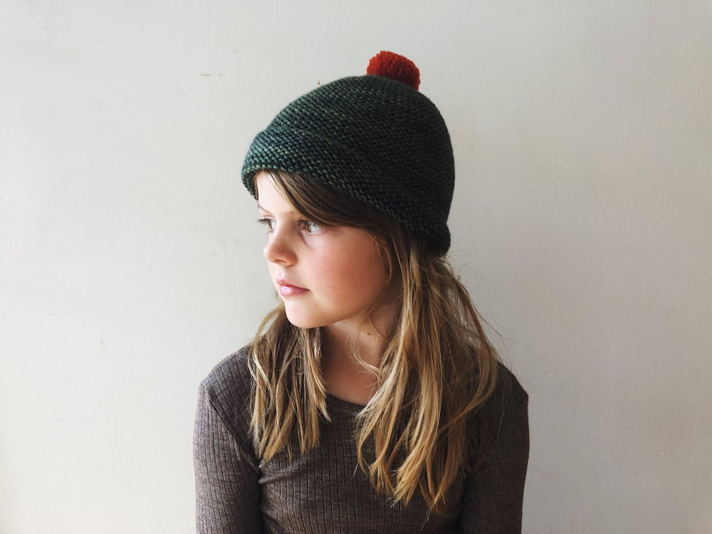 Image of hand knitted beanie
