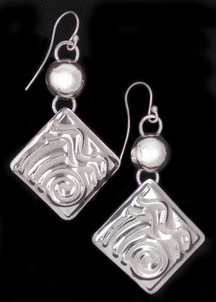 Image of Sterling Silver Embossed Earrings 1