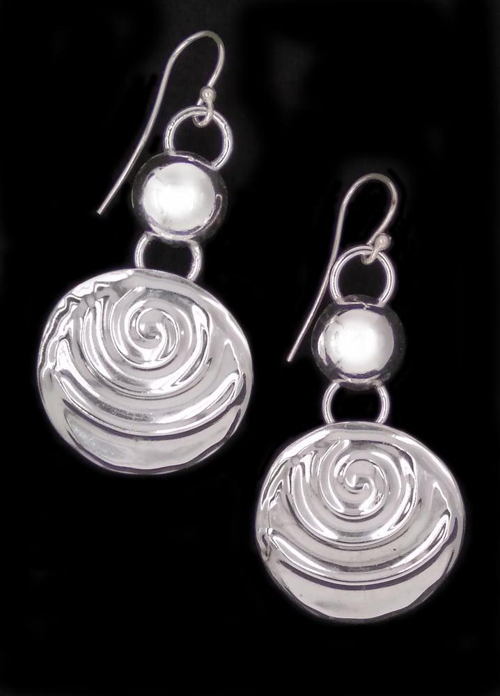 Image of Sterling Silver Embossed Earrings 2