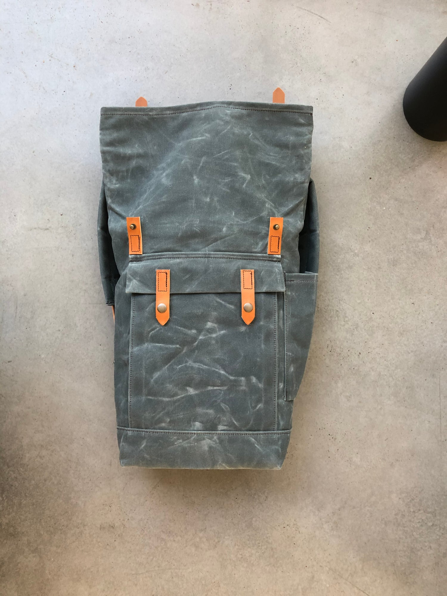 Image of Gray waxed canvas leather Backpack medium size / college backpack / Hipster Backpack with roll top