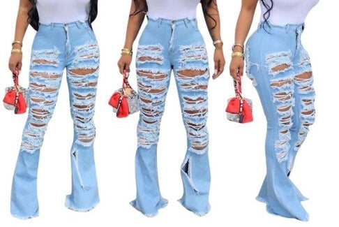 """Image of """"Rip It"""" Sliced Bell Jeans"""