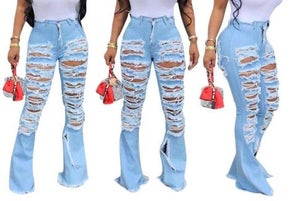 "Image of ""Rip It"" Sliced Bell Jeans"