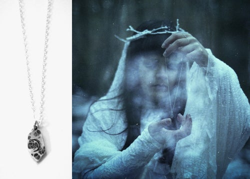 Image of LUNAR ORACLE AMULET ↟ sustainable sterling silver - pick symbol: pentagram, waxing or waning moon