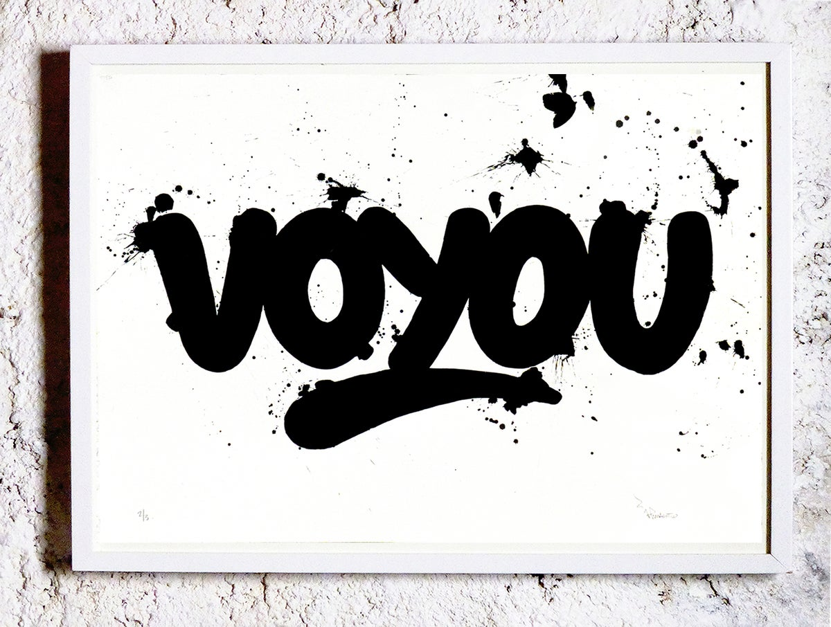 Image of VOYOU 1/3 70x50 cm. Screen print  + Dripping. Unique. Signed.