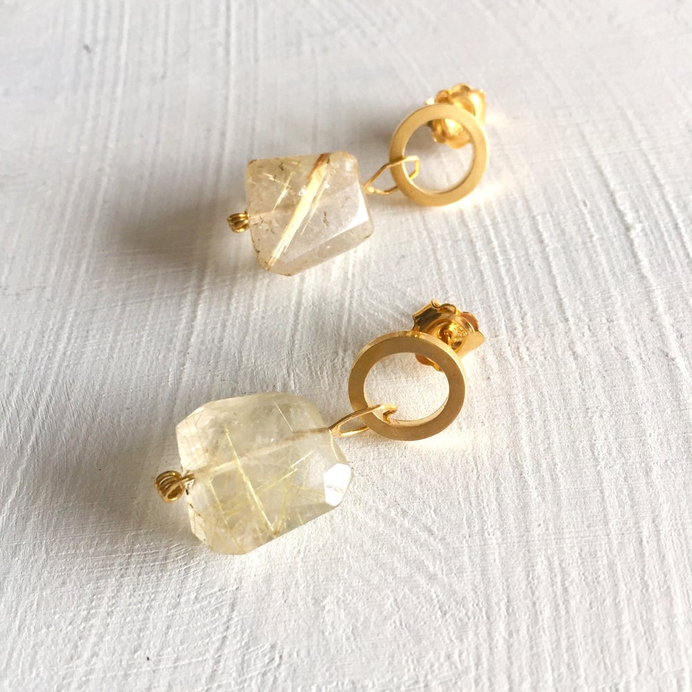 Image of Indian summer stud earrings- gold Rutilated Quartz