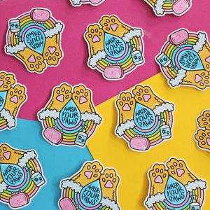 Image of Wash Your Paws sticker, Die Cut Vinyl Sticker -  8cm - hand washing reminder - reward sticker