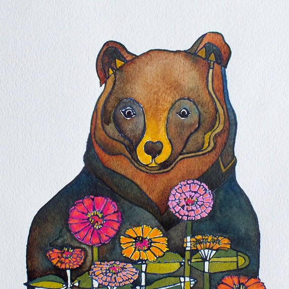 Image of Bear and Zinnias - by Jenn Rawling