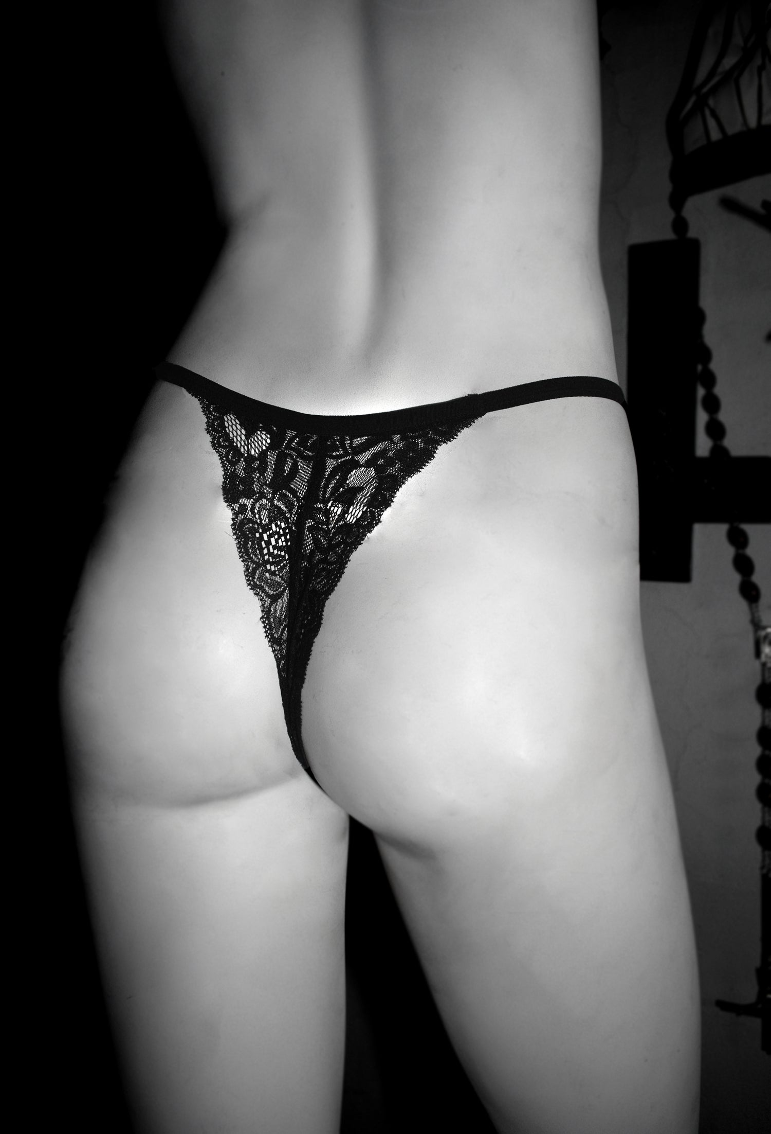 Image of Flower lace black and red Lucifer sigil thong Pentagram pantie FREE SHIPPING