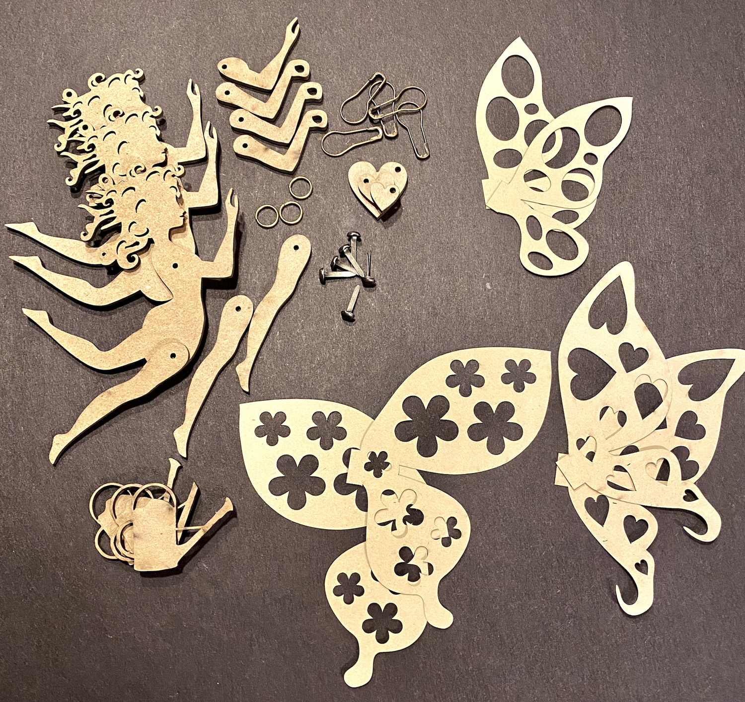 Image of MORE ADDED! Lyn B's Set/3 Flower Fairies- Chipboard Kit-No Paper Cuts