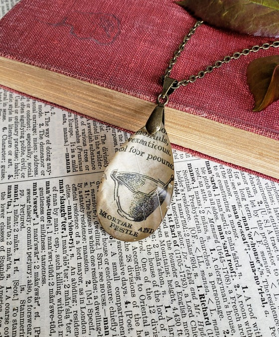 Image of Mortar & Pestle Vintage Science Book Pendant Necklace