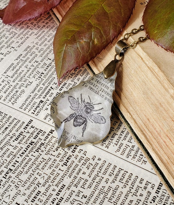 Image of Vintage Dictionary Page Pendant Necklace Honey Bee Worker Bee
