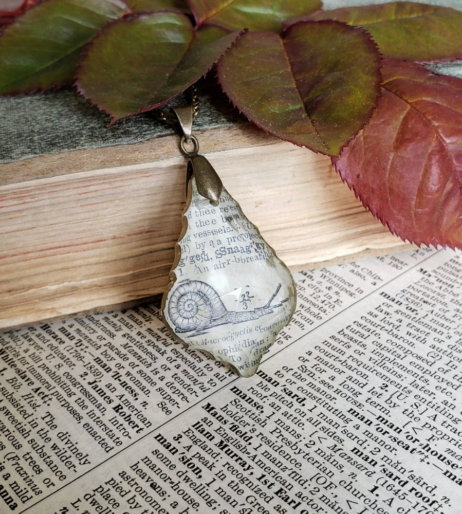 Image of Antique Encyclopedia Page & Salvaged Chandelier Crystal Snail Necklace