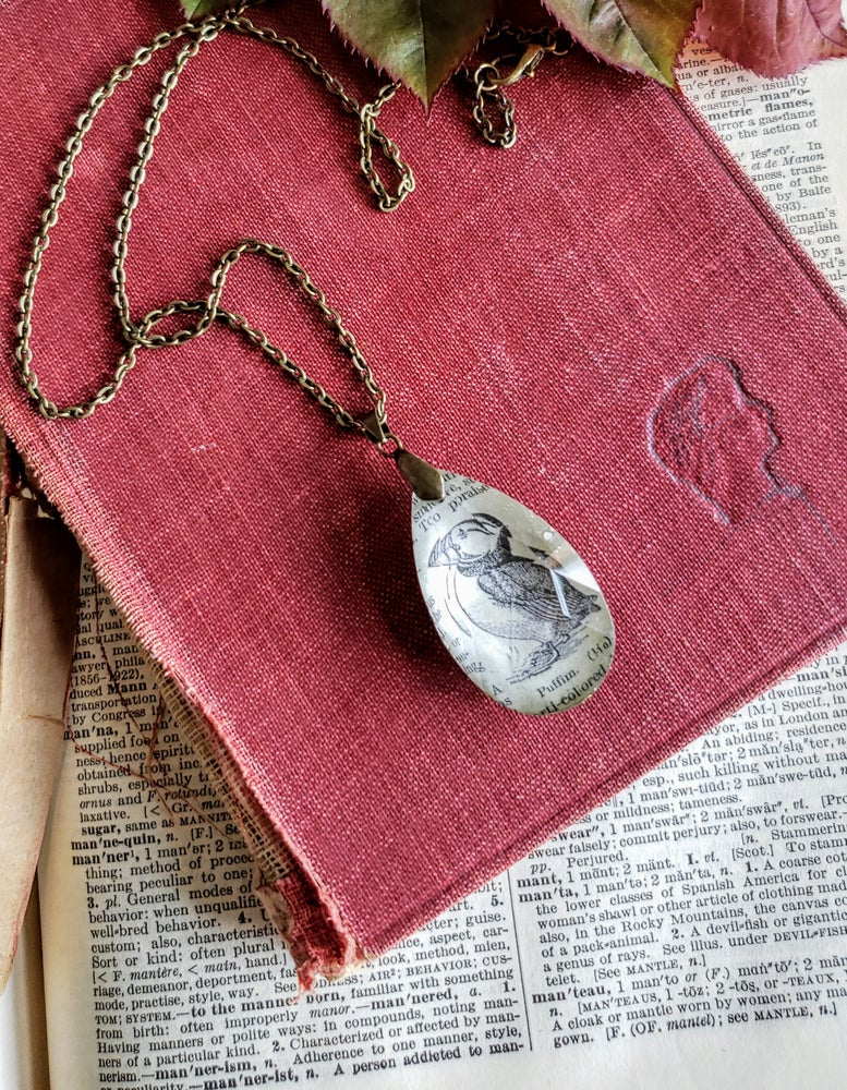 Image of Puffin Upcycled Dictionary Page Pendant Necklace