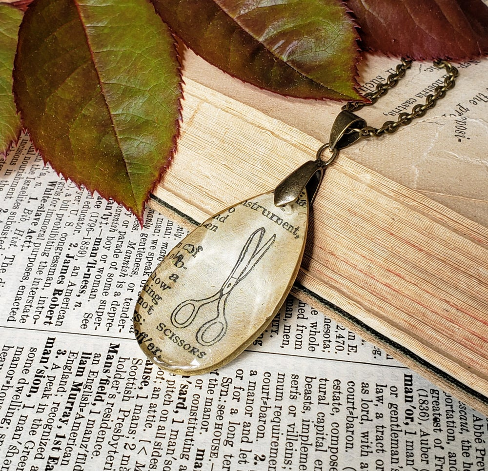 Image of Scissors Salvaged Chandelier Crystal & Vintage Book Page Pendant Necklace