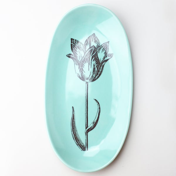 "Image of 12"" serving tray with tulip, aqua"