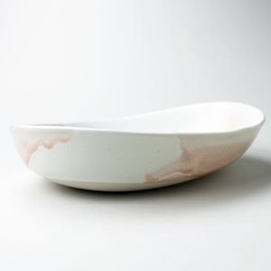 Image of deep beachstone serving bowl, rose watercolor