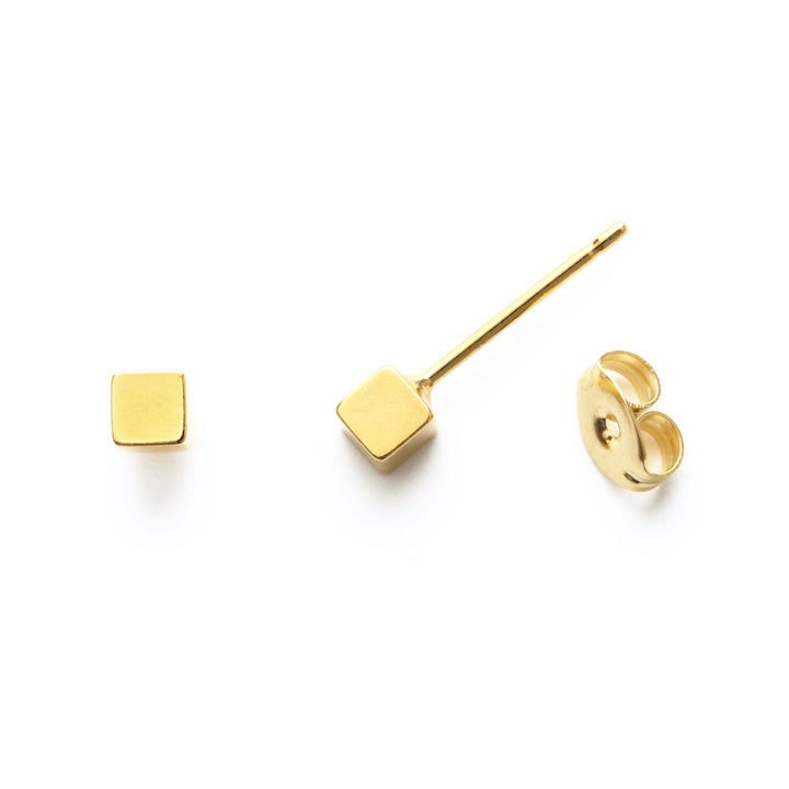 Image of Amano Small Gold Cube Stud Earrings