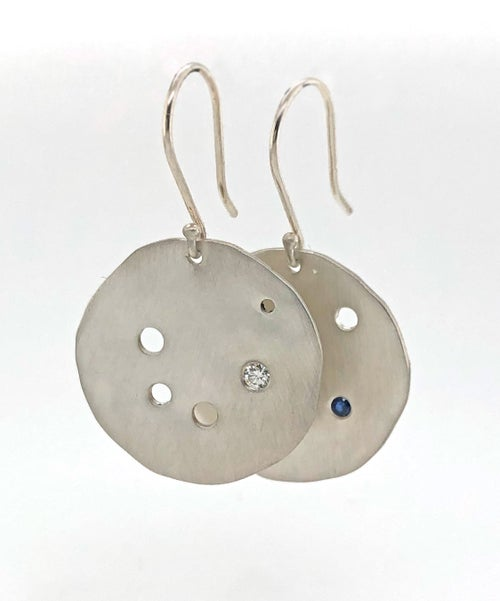 Image of Sterling Silver Diamond and Blue Sapphire Asymmetrical Earrings
