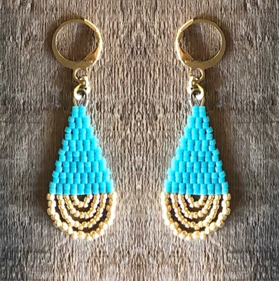 Image of Turquoise + gold loop drop earrings