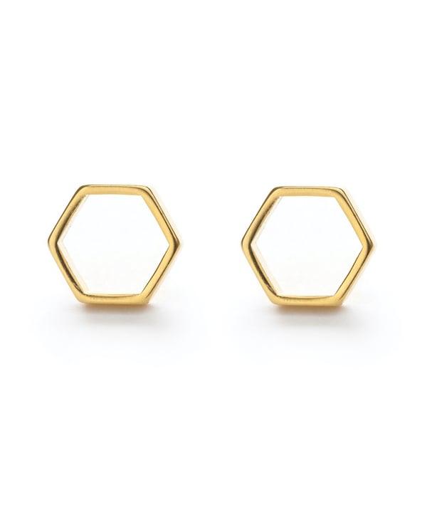 Image of Amano Gold Hexagon Stud Earrings