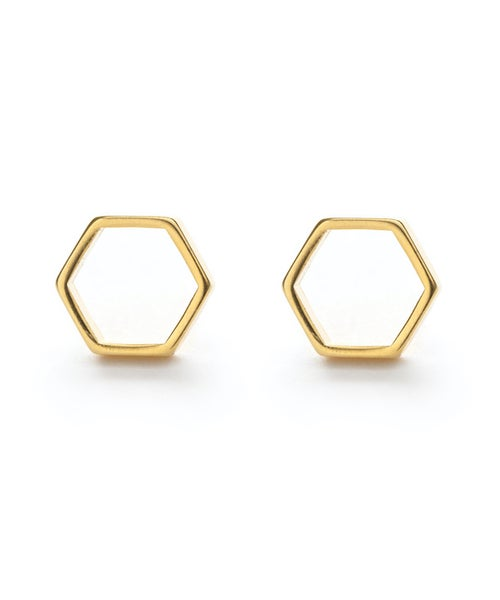 Image of Amano Gold Hexagon Stud Earrings