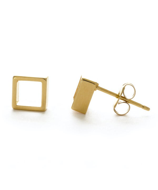 Image of Amano Gold Square Stud Earrings