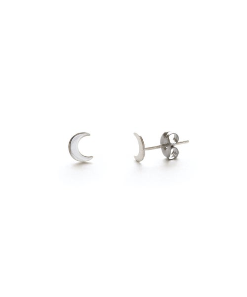 Image of Amano Silver Crescent Moon Stud Earrings