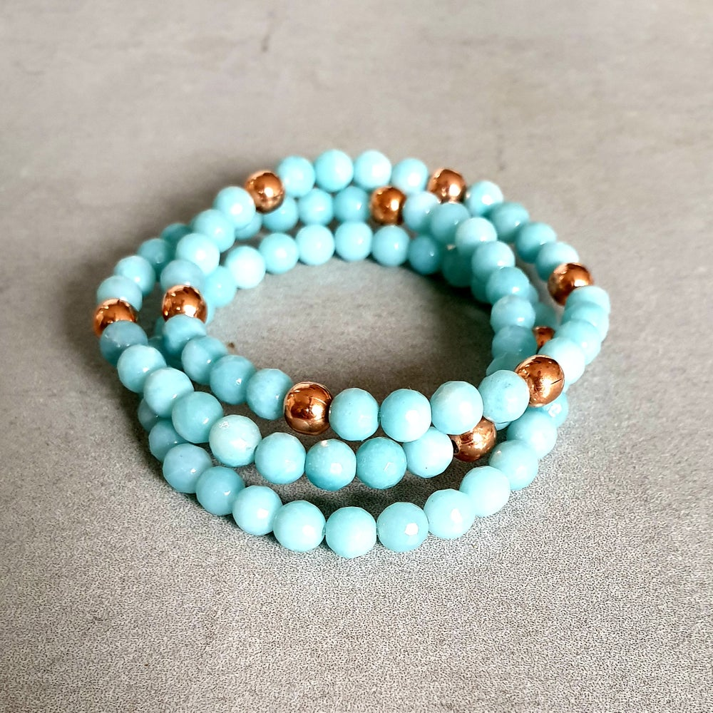 Image of AMAZONITE & COPPER BRACELET - 6mm Faceted Beads