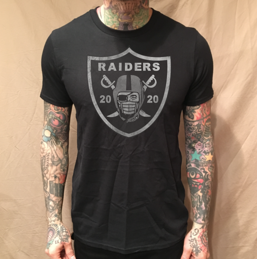 Image of C19 RAIDERS MASK ON BLACK TEE