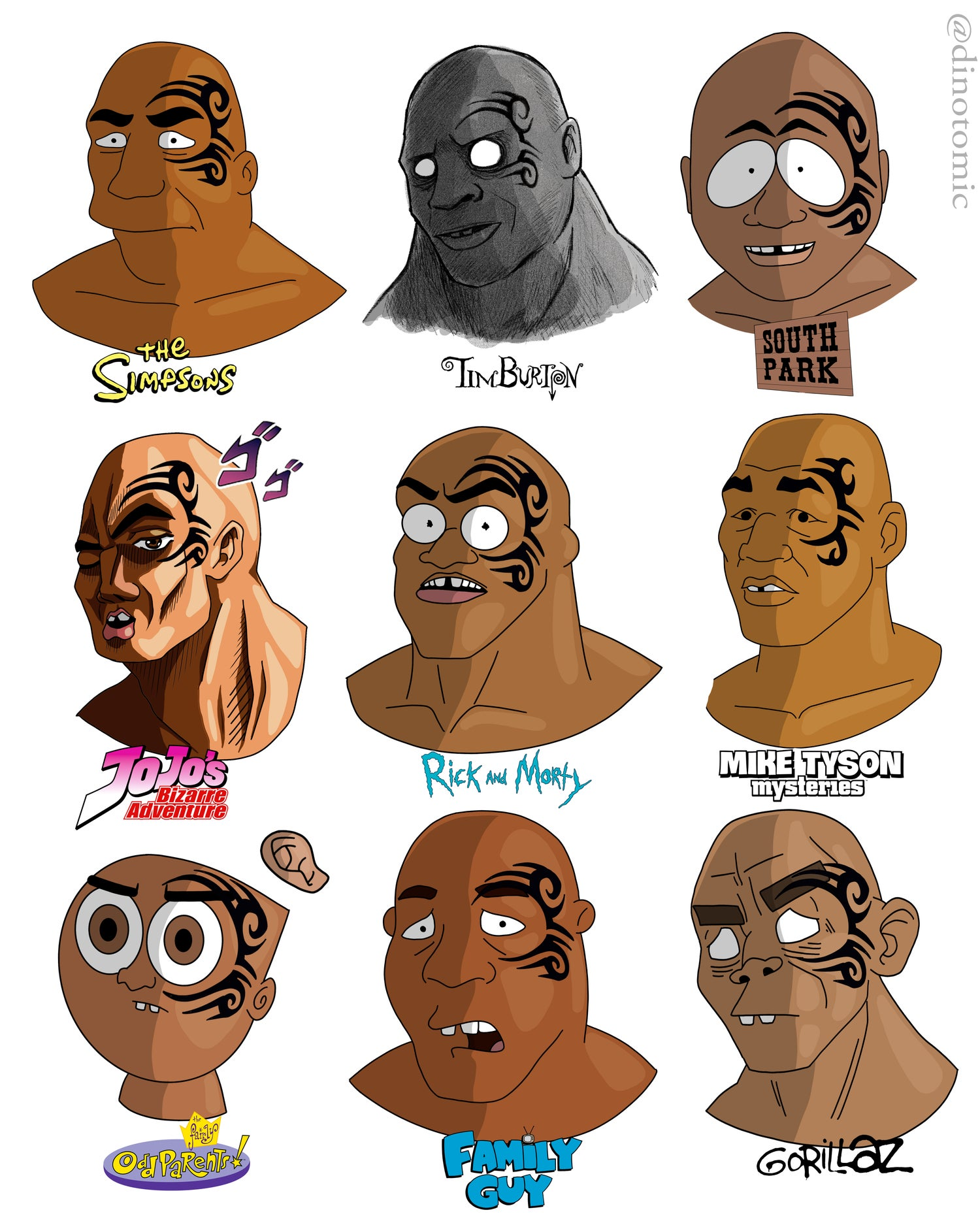 Image of #184 Mike Tyson in different styles