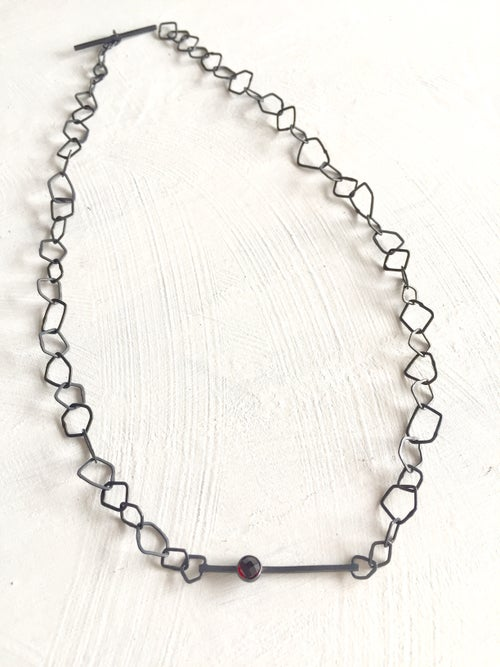 Image of Indian summer necklace- oxidised silver/garnet