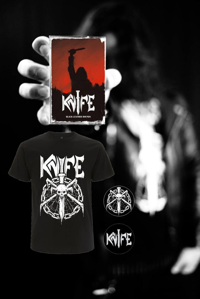 Image of  KNIFE - Black Leather Hounds - Bundle (incl. Tape with 2 stickers, shirt & 2 buttons)