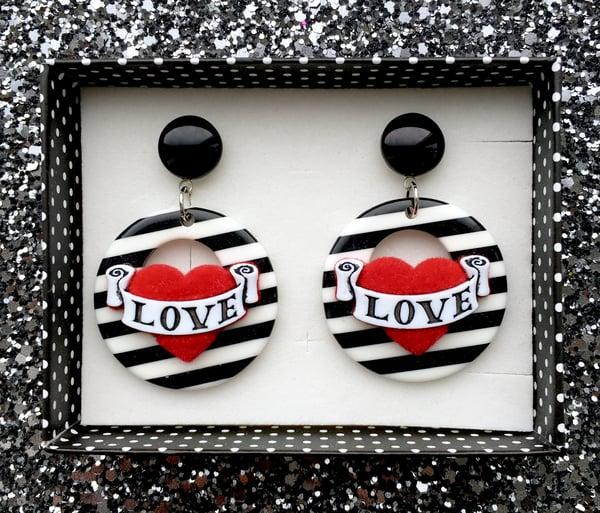 Image of Vintage Love Hearts Earrings