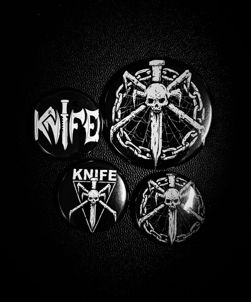 Image of  KNIFE - Black Leather Hounds - button set (4 different buttons)