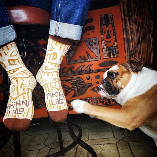 Image of SALE 15% OFF ! Peanut Tiki Socks