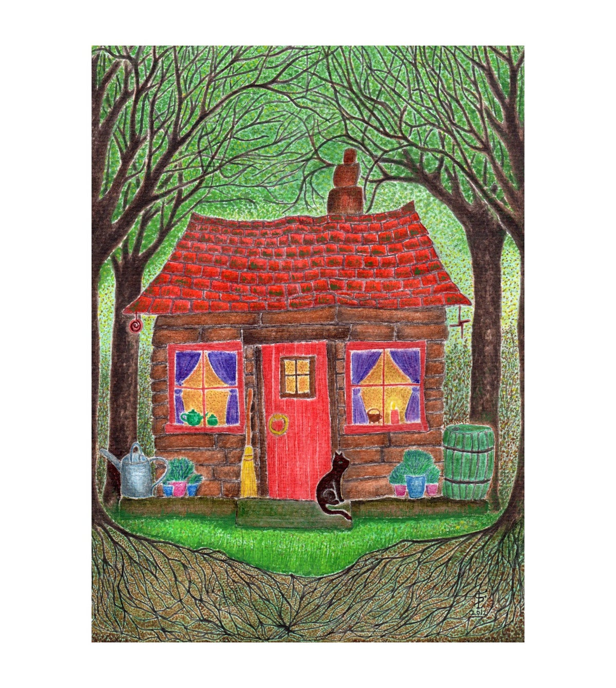 Black Cat Cottage art print