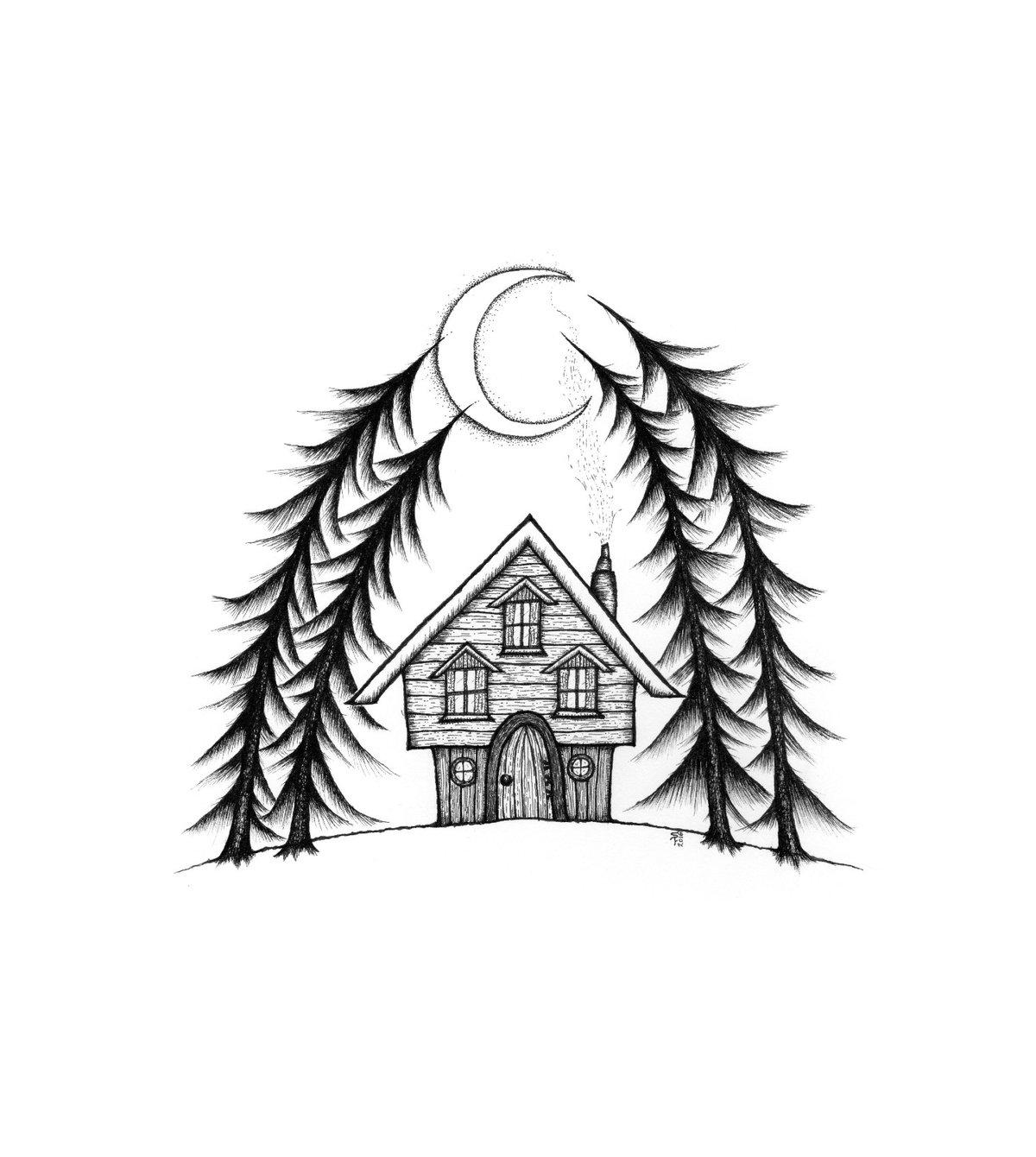 Crescent Moon Cabin art print