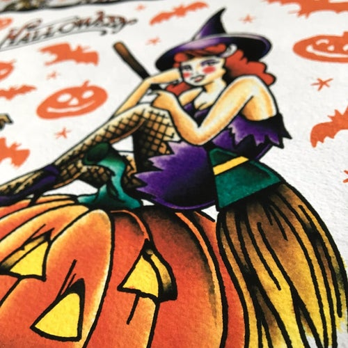 Image of Witches of Halloween Tattoo Flash Print