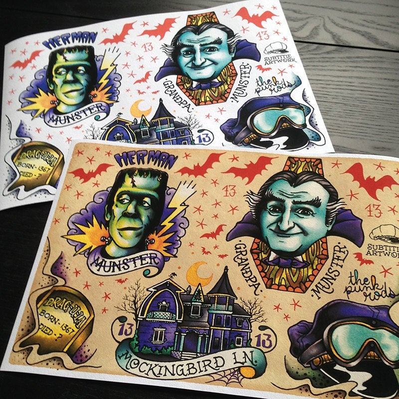 Image of The Munsters - Herman & GrandPa tattoo Flash Print