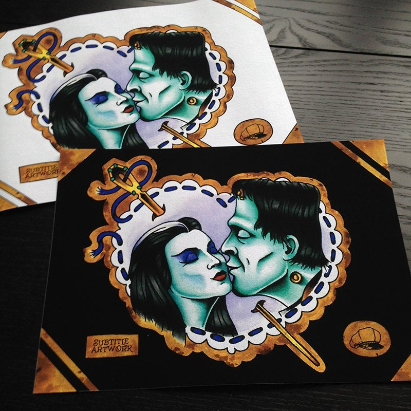 Image of The Munsters - Lily & Herman Tattoo Flash Print