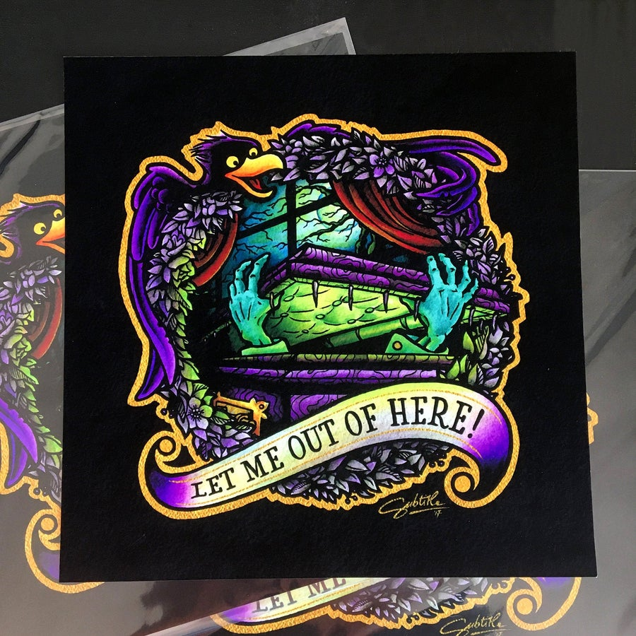 Image of Haunted Mansion - Let Me Out Of Here Tattoo Flash Print