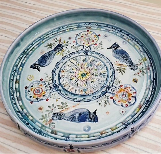 Image of Bluejay Handpainted Porcelain Garlic Grater Oil Plate Dish